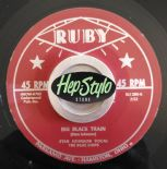 STAN JOHNSON 45 RE-SIX WHITE HORSES/BIG BLACK TRAIN- RUBY 1957 GREAT ROCKABILLY